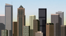 Afternoon city with skyscraper office buildings