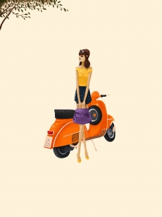 The girl with Vespa waiting for someone .jpg