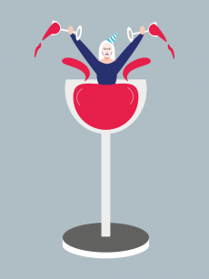 Woman having party in tall glass.png