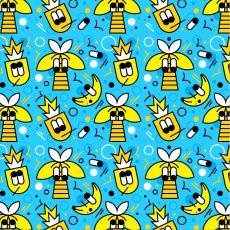 Summer bananas and bees on blue.jpg