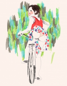 Woman on a bicycle wearing skirt .jpg