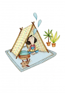 Small girl playing and reading a book under the teepee.jpg