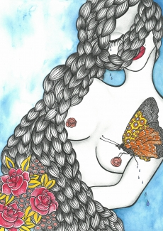 Butterfly sitting on woman's naked nipple.jpg