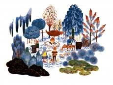 children who wear mask still celebrate the winter in the forest..jpg
