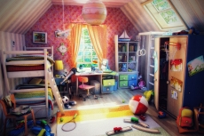 Children's room in a moment before the arrival of children from a summer walk