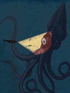 20000 leagues under the sea- nautilus submarine in front a giant octopus- Kraken.jpg