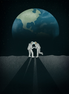 Astro love - a couple of astronaut kissing  on the moon in front of the shape of the heart in a cosmic night.jpg