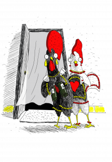 Rooster Barselos, the Falk Portugal character, and his girlfriend are going to drink wine