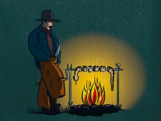 A cowboy, grills a rattlesnake, at night, because he's hungry