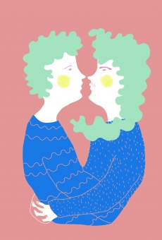 Lovely green-haired couple hugging.jpg