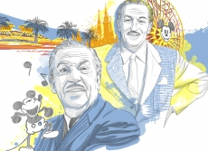 Walt Disney having fun with his famous character Mickey Mouse nearby panoramic view of Disneyland.jpg