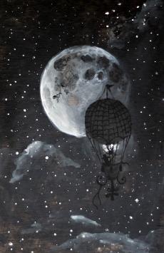 Ballon on the night sky with the moon