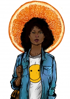 Black girl with smiley face t-shirt and orange slice in her back .jpg