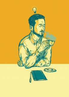 Bearded man drinking coffee having and idea bulb above his head and a sketchbook
