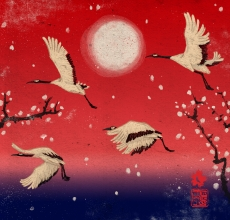 A siege of herons, flying birds on a red sky