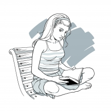 Girl sitting on a park bench reads a book.jpg