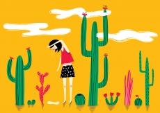 Summer heat girl among cactuses
