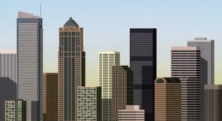 Afternoon city with skyscraper office buildings.png