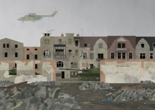 War helicopter flying over the bombed destroyed city.png