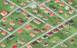 Suburbia with red roofs connected and sharing files