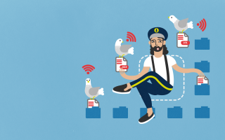 Files captain with wifi pigeons in blue