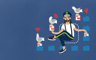 Files captain with wifi pigeons in dark blue