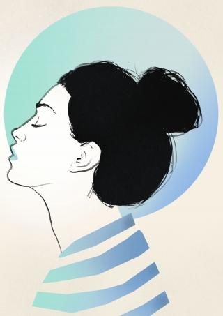 Girl with a bun