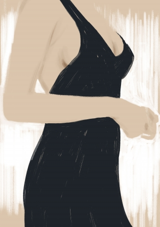 Curves of young lady wearing black party dress