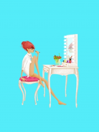 Girl doing her makeup in the morning