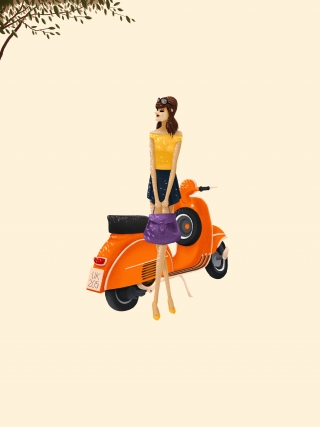 The girl with Vespa waiting for someone
