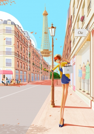 Paris girl walking down the street shopping