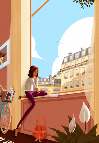 Young girl sitting on the window enjoying Paris moments