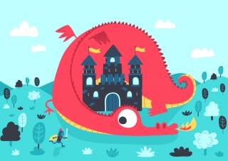 Red dragon lying around castle