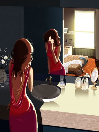 Chic girl in bathroom doing makeup.jpg