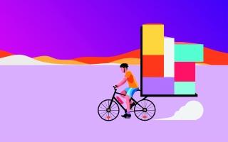 Cyklist moving big loads