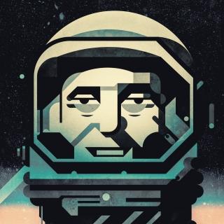 Astronaut portrait in helmet