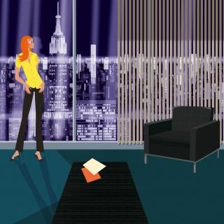 Woman working in skyscraper office