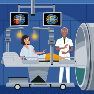 Patient to be brain scanned