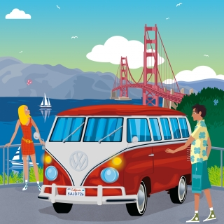 California road trip on volkswagen van