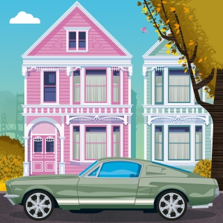 Ford Mustang parking in residential area