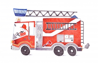 Fireman in his red fire truck.jpg