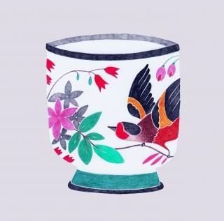 Bird painted ceramic vase.jpg