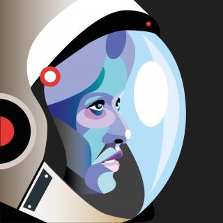 Astronaut woman wearing space helmet looking.png