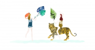 Girls having fun with palm leaves and animals