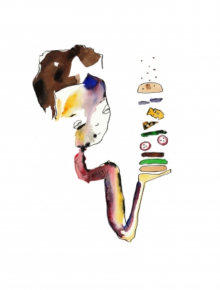 Girl serving hamburger