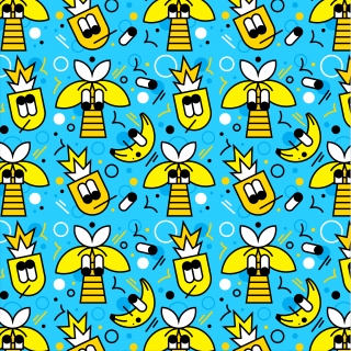 Summer bananas and bees on blue