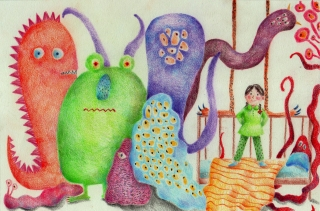 Little girl and her favourite monsters.jpg