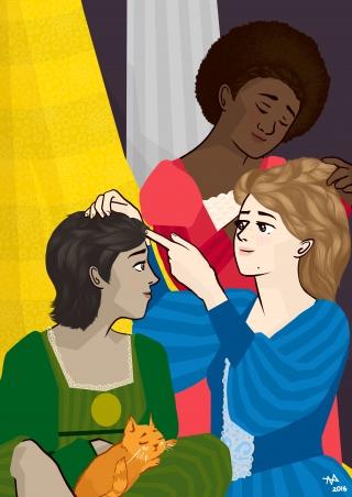 Girls briading their hair