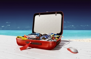Suitcase on a beach