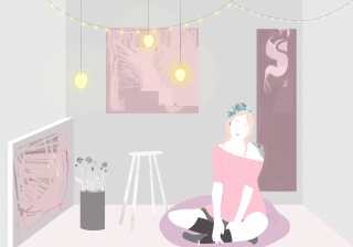Artist sitting on floor in her room